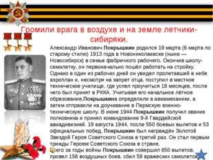 Громили врага в воздухе и на земле летчики-сибиряки. Александр ИвановичПокры