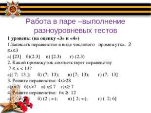 Работа в паре –выполнение разноуровневых тестов 1 уровень: (на оценку «3» и