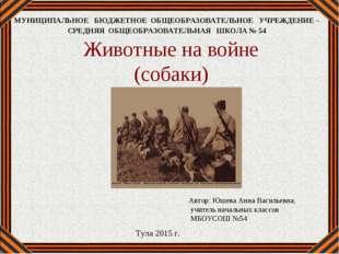 Животные на войне (собаки) Автор: Юшева Анна Васильевна, учитель начальных кл