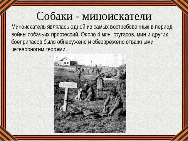 Собаки - миноискатели Миноискатель являлась одной из самых востребованных в п...