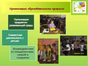 Взаимодействие со специалистами, семьёй и социумом Организация образовательн
