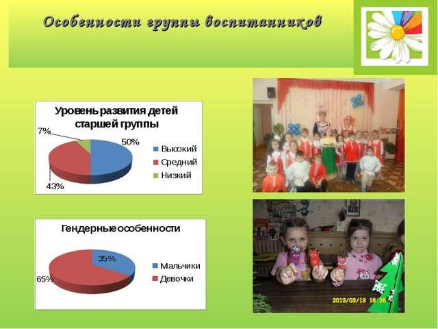 Особенности группы воспитанников