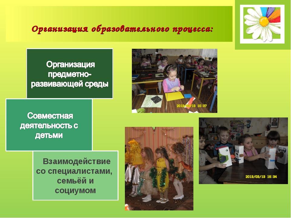 Взаимодействие со специалистами, семьёй и социумом Организация образовательн...