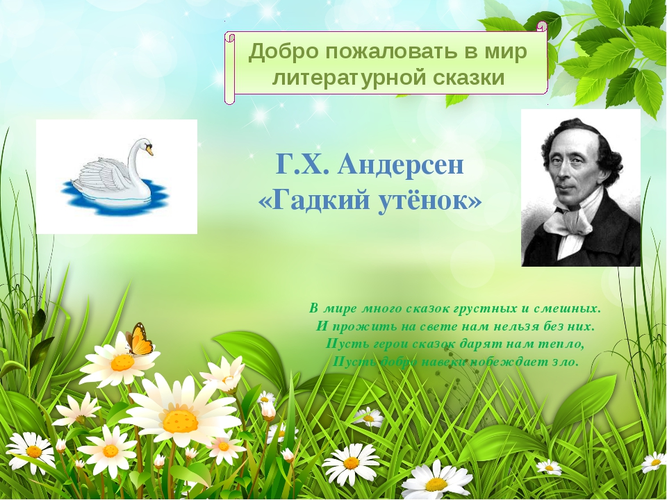 Добро пожаловать в мир литературной сказки Г.Х. Андерсен «Гадкий утёнок» В м...