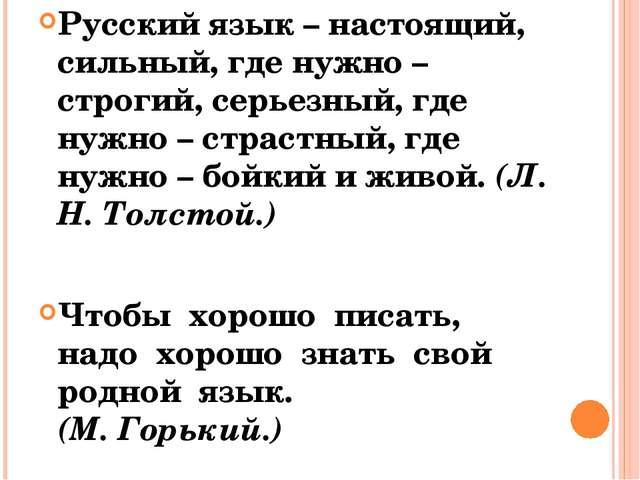 Русский язык – настоящий, сильный, где нужно – строгий, серьезный, где нужно...