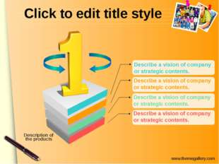 Click to edit title style Describe a vision of company or strategic contents