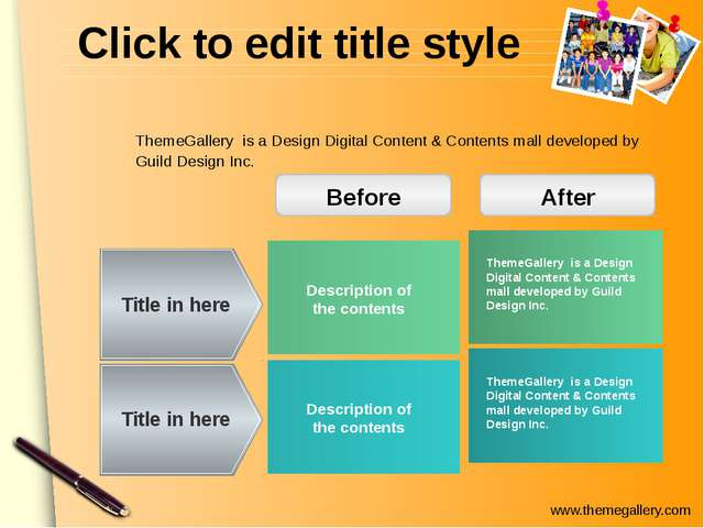 Click to edit title style Description of the contents Title in here Title in...