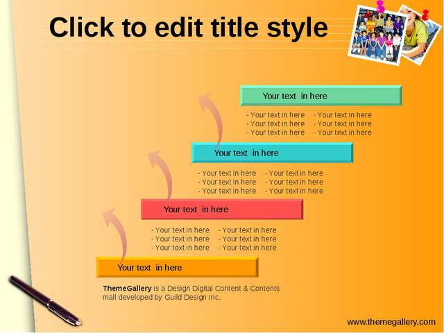 Click to edit title style Your text in here Your text in here Your text in he...
