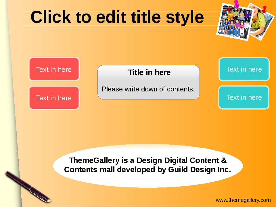 Click to edit title style Title in here Please write down of contents. Text i...