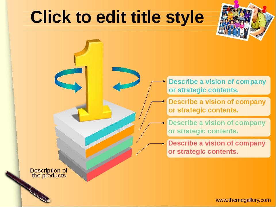 Click to edit title style Describe a vision of company or strategic contents...