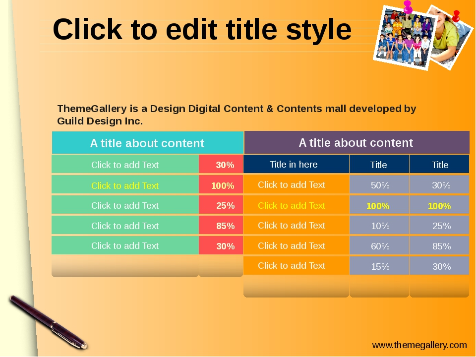 Click to edit title style 50% Click to add Text Click to add Text Click to ad...