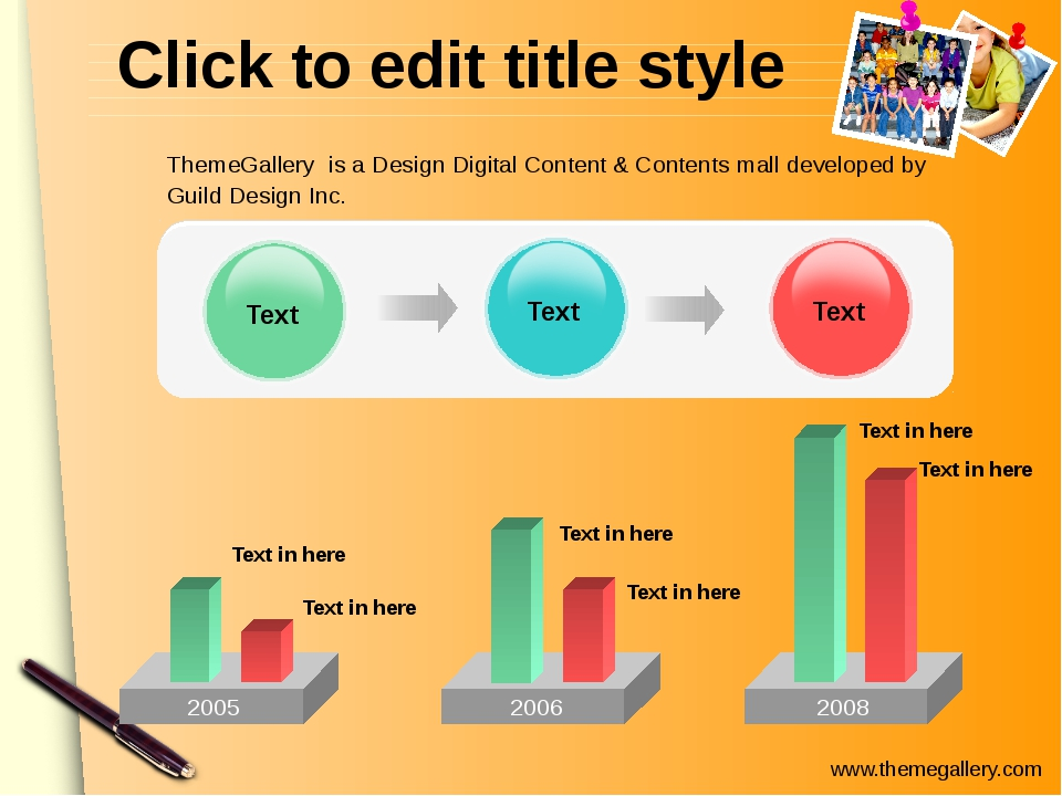 Click to edit title style 2005 Text Text Text 2006 2008 Text in here Text in...