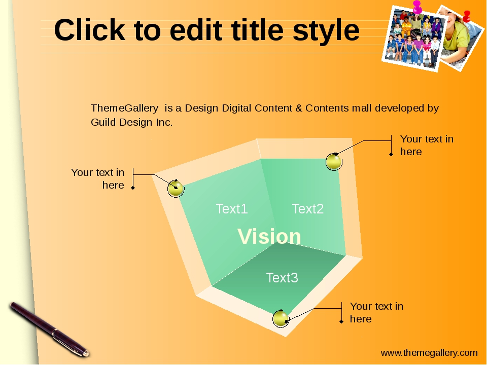 Click to edit title style Vision Text1 Text2 Text3 Your text in here Your tex...