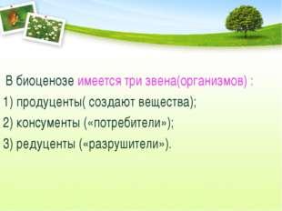 В биоценозе имеется три звена(организмов) : 1) продуценты( создают вещества)