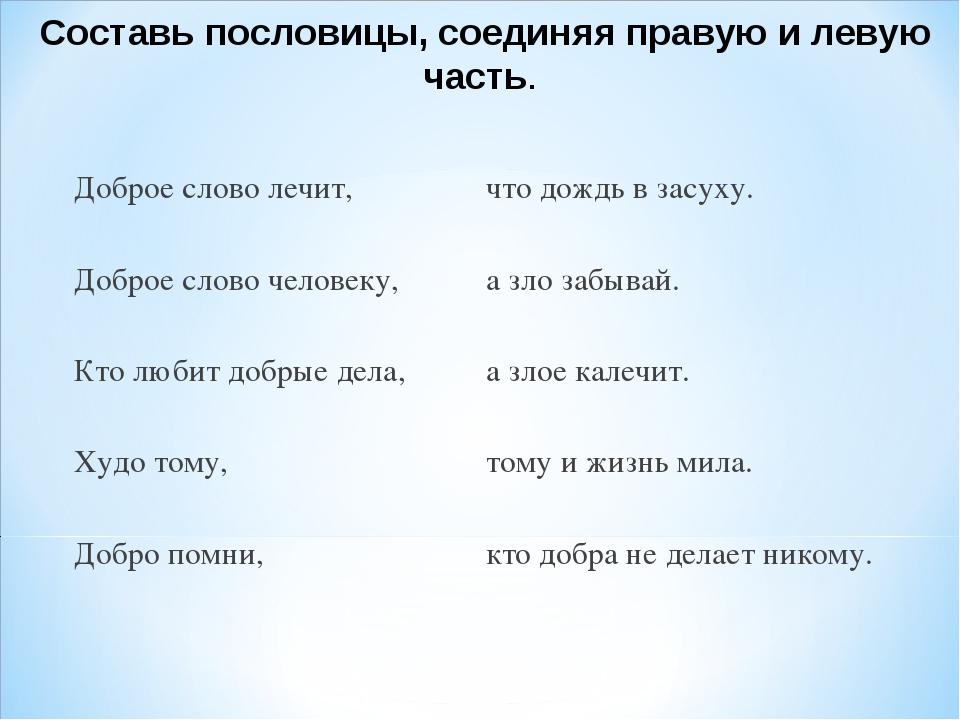 Составь пословицы, соединяя правую и левую часть. Доброе слово лечит,что до...