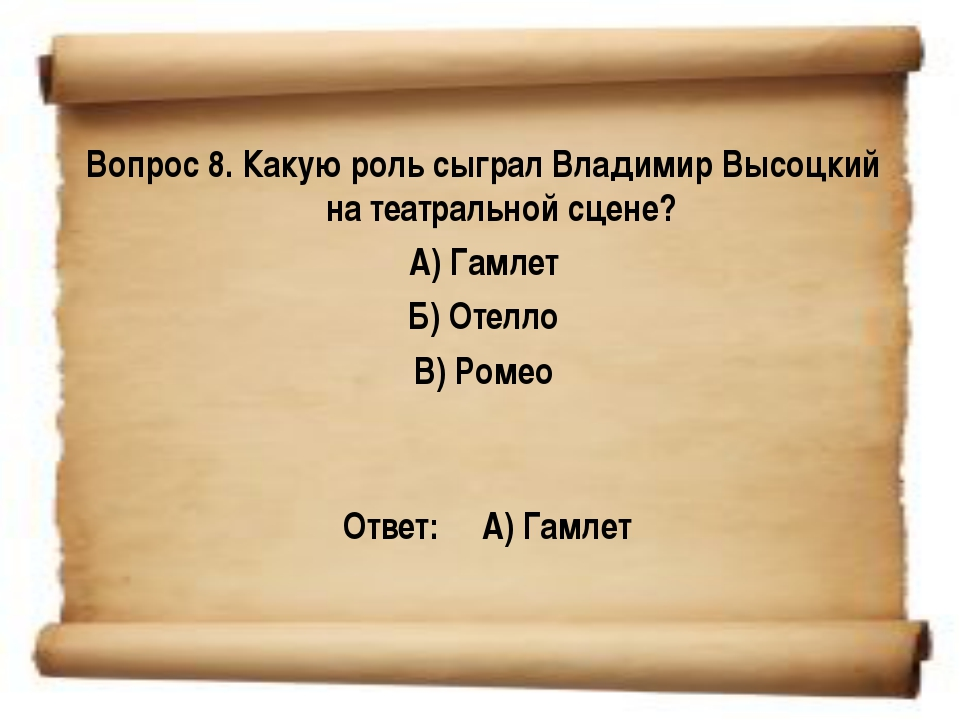 Вопрос 8. Какую роль сыграл Владимир Высоцкий на театральной сцене? А) Гамле...
