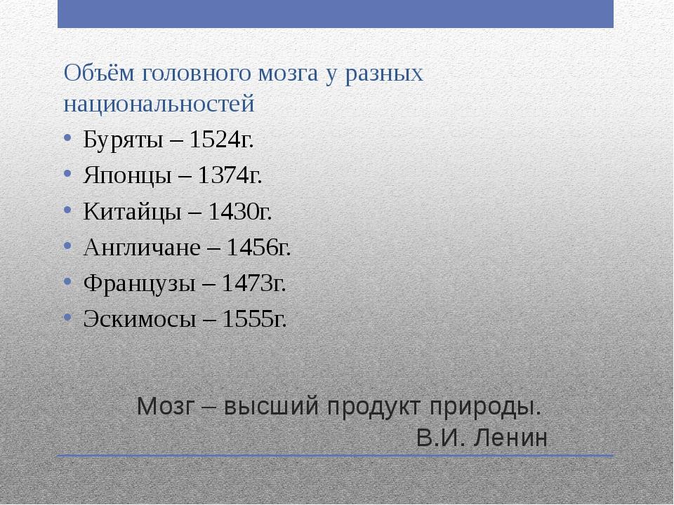 Мозг – высший продукт природы. В.И. Ленин Объём головного мозга у разных наци...