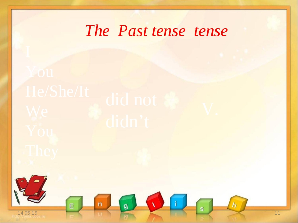 * * The Past tense tense I You He/She/It We You They did not didn't V.