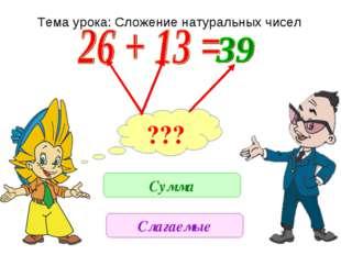 ??? Сумма Слагаемые Тема урока: Сложение натуральных чисел