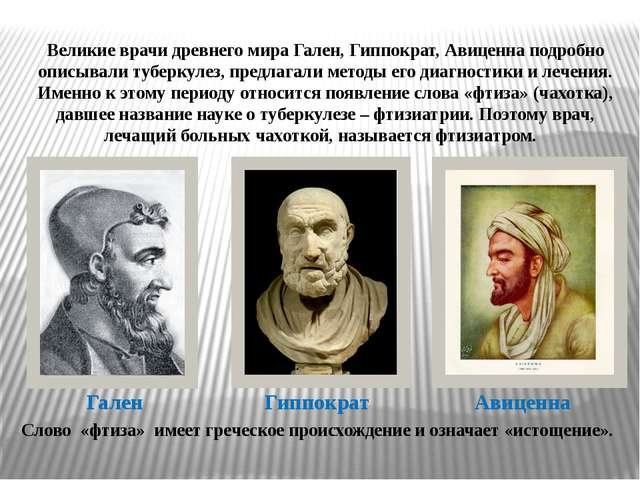 Гален Гиппократ Авиценна Великие врачи древнего мира Гален, Гиппократ, Авицен...