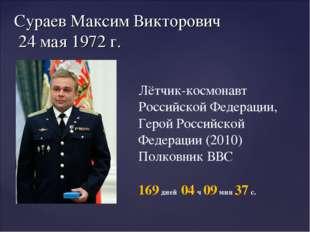 Сураев Максим Викторович 24 мая 1972 г. Лётчик-космонавт Российской Федерации