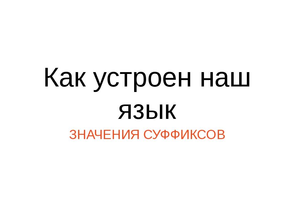 Как устроен наш язык ЗНАЧЕНИЯ СУФФИКСОВ