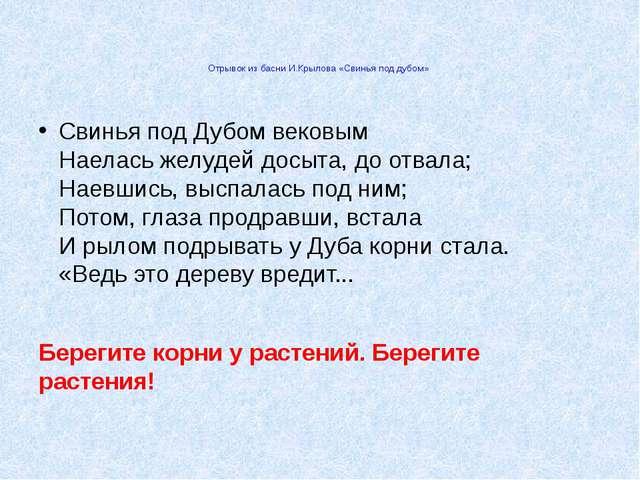 Отрывок из басни И.Крылова «Свинья под дубом» Свинья под Дубом вековым Наел...