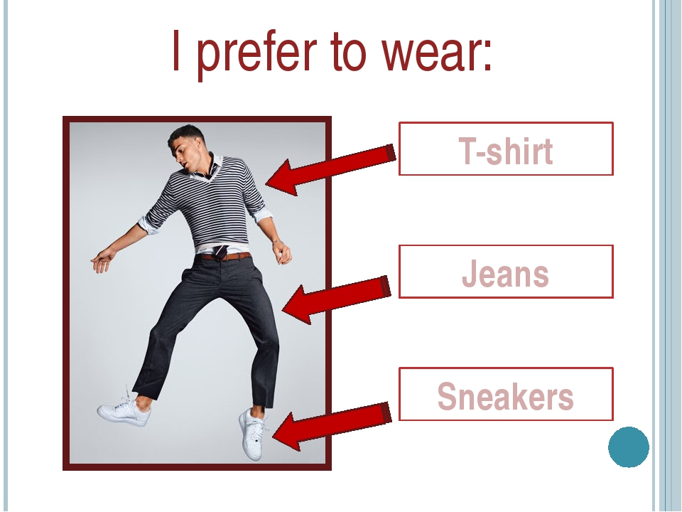 I prefer to wear: Jeans Sneakers T-shirt