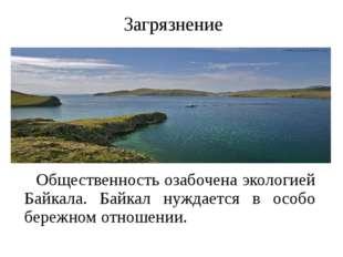 Загрязнение Общественность озабочена экологией Байкала. Байкал нуждается в ос