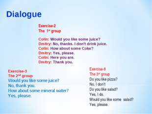 Exercise-2 The 1st group Colin: Would you like some juice? Dmitry: No