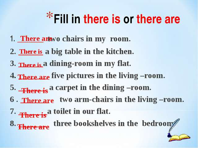 1. _______ two chairs in my room. 2. ______ a big table in the kitchen. 3. __...