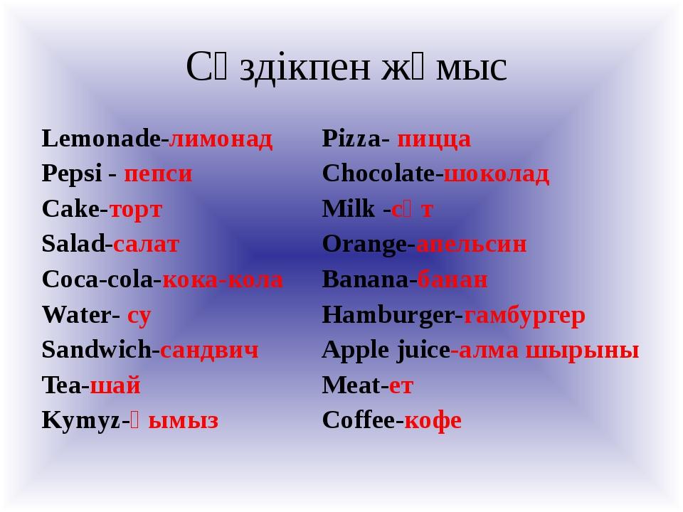Cөздікпен жұмыс Lemonade-лимонад Pepsi - пепси Cake-торт Salad-салат Coca-co...