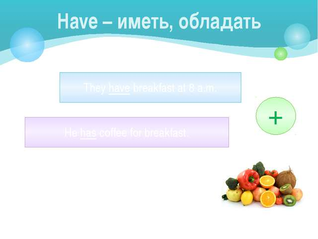 Have – иметь, обладать They have breakfast at 8 a.m. He has coffee for breakf...