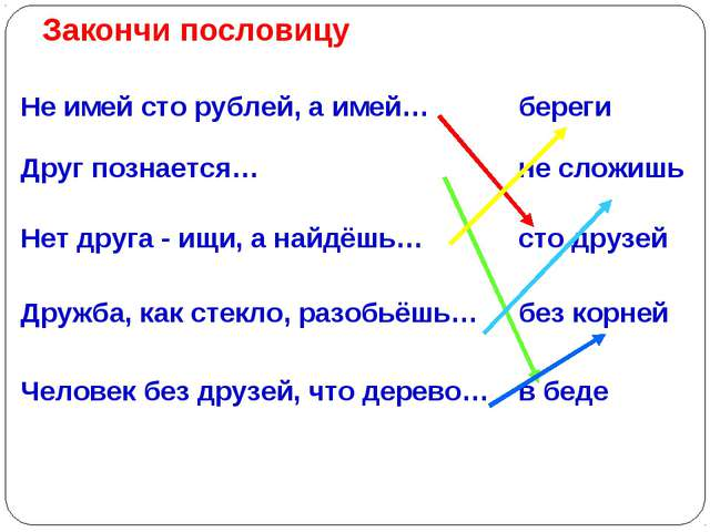 Закончи пословицу Не имей сто рублей, а имей…береги Друг познается…не сложи...