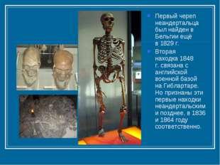 Первый череп неандертальца был найден в Бельгии ещё в1829 г. Вторая находка