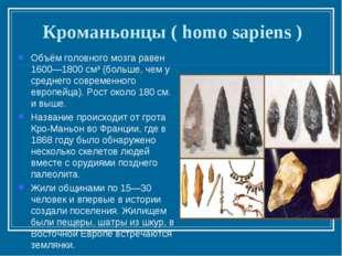 Кроманьонцы ( homo sapiens ) Объём головного мозга равен 1600—1800 см³ (больш