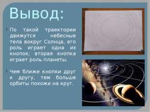 Вывод: По такой траектории движутся небесные тела вокруг Солнца, его роль игр