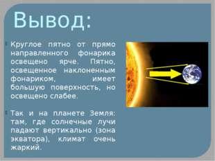 Вывод: Круглое пятно от прямо направленного фонарика освещено ярче. Пятно, ос
