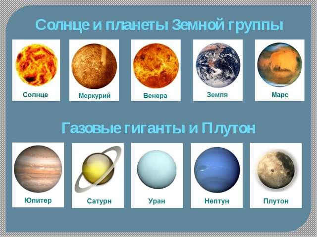 Солнце и планеты Земной группы Газовые гиганты и Плутон