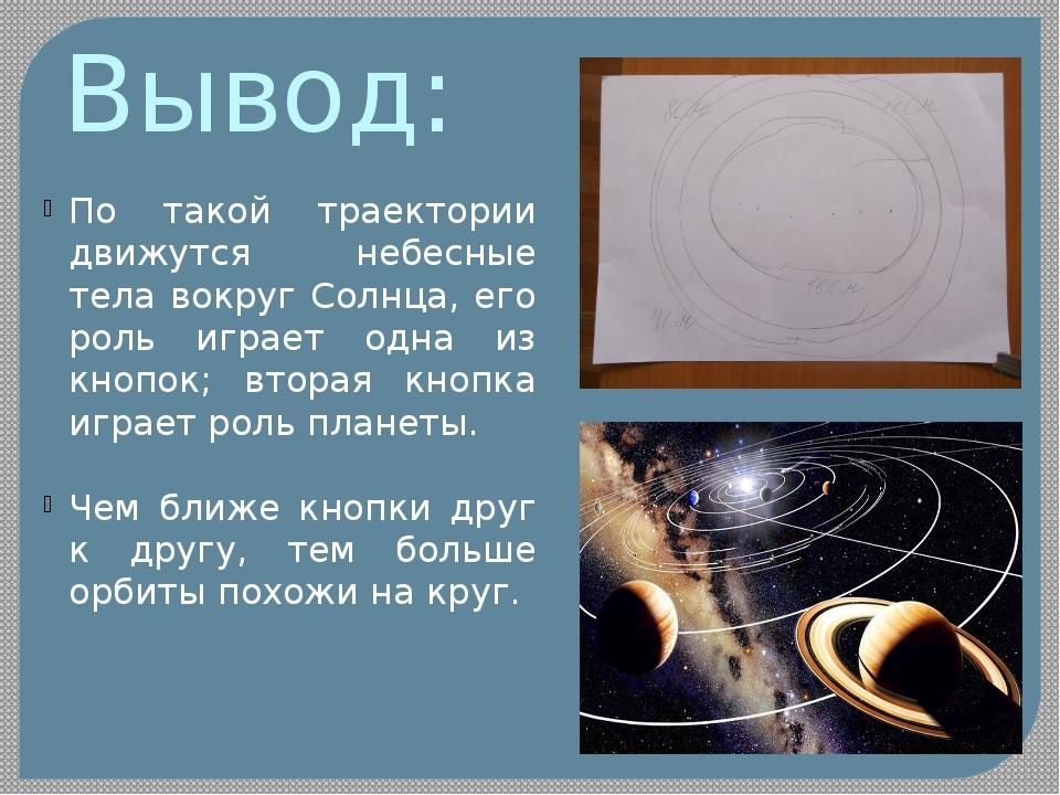 Вывод: По такой траектории движутся небесные тела вокруг Солнца, его роль игр...