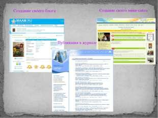 Создание своего блога Создание своего мини-сайта Публикации в журнале