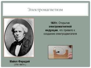 Электромагнетизм Майкл Фарадей (1791-1867гг.) 1831г. Открытие электромагнитно