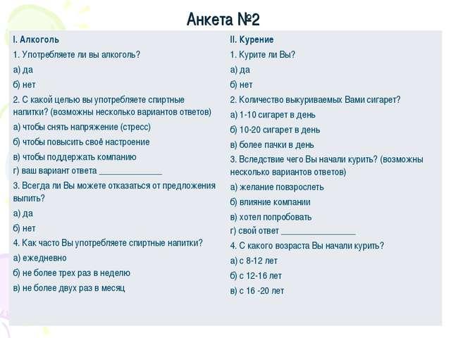 Анкета №2 I. Алкоголь 1. Употребляете ли вы алкоголь? а) да б) нет 2. С какой...