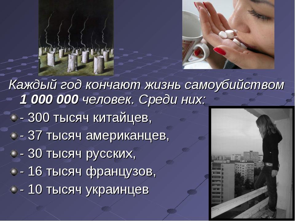 Каждый год кончают жизнь самоубийством 1 000 000 человек. Среди них: - 300 ты...