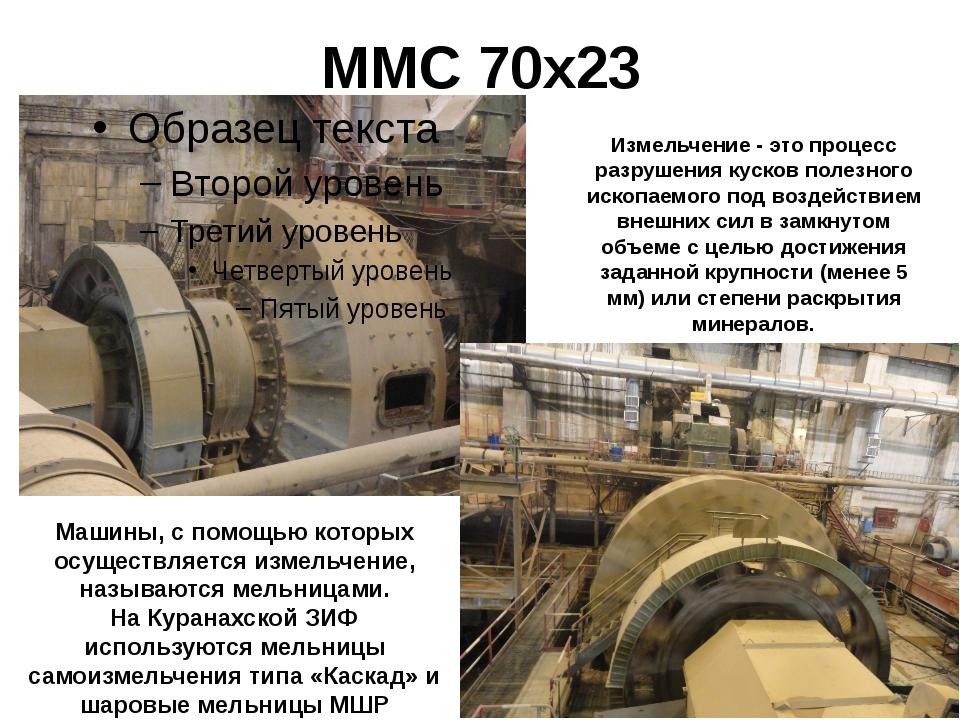 ММС 70х23 Измельчение - это процесс разрушения кусков полезного ископаемого п...