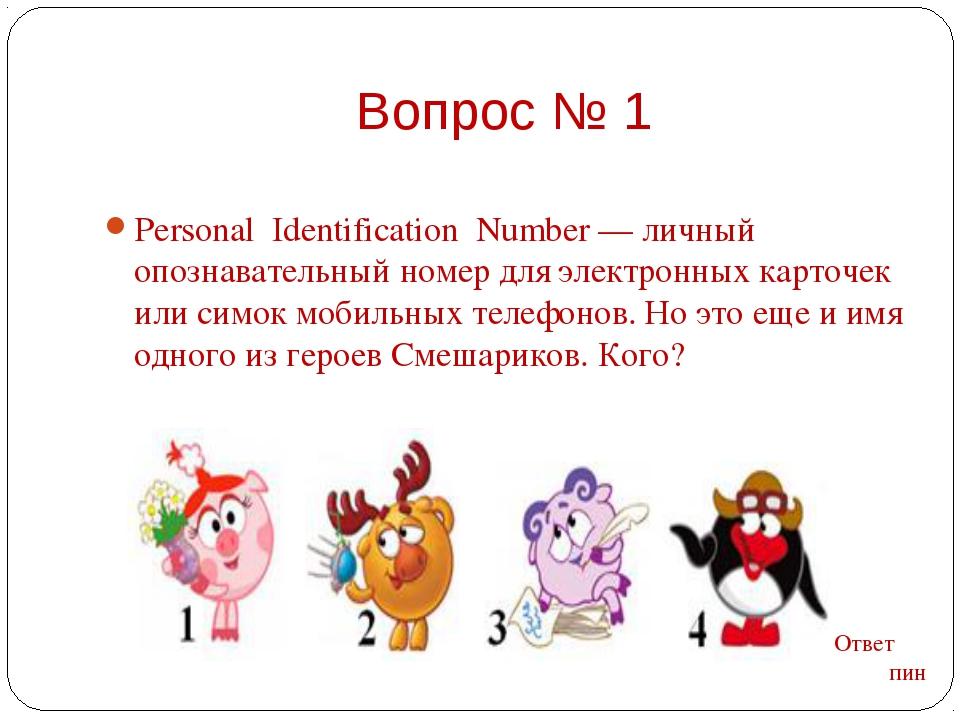 Personal  Identification  Number — личный опознавательный номер для электронн...