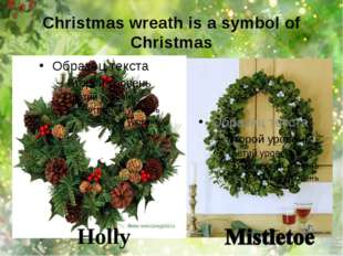 Christmas wreath is a symbol of Christmas Holly