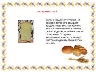 Эксперимент № 4. Запах определяют путем 2 – 3 разового глубокого вдыхания воз