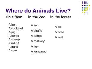 Where do Animals Live? On a farm in the Zoo in the forest A hen A cockerel A