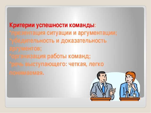 Критерии успешности команды: *презентация ситуации и аргументации; *убедитель...